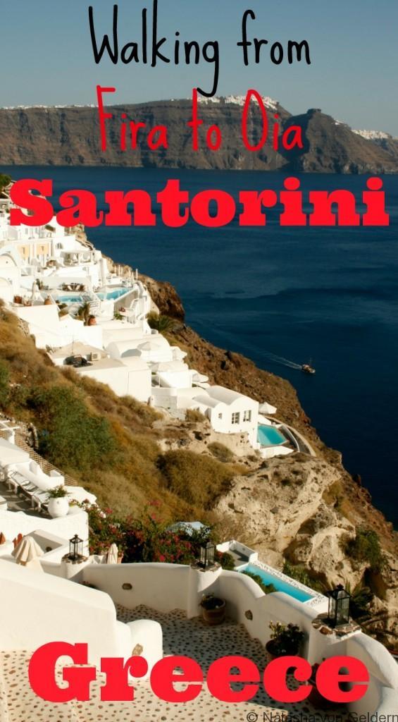 Walking from Fira to Oia Santorini Greece