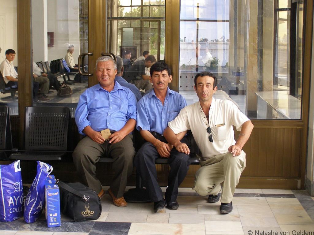 Friends at Nukus airport - Uzbekistan