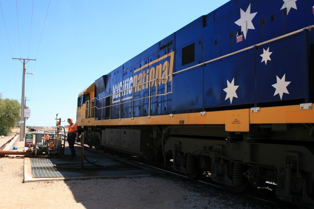 Taking on water in Cook - Indian Pacific rail journey, Australia