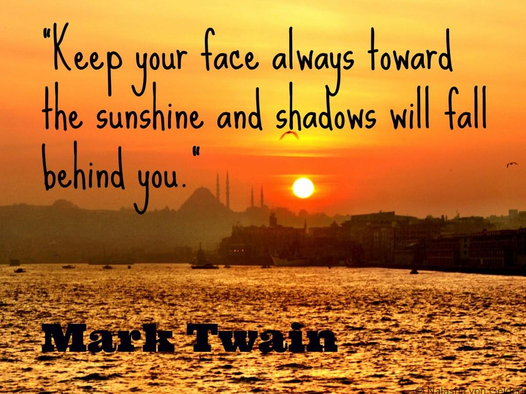 Quote - Keep your face always toward the sunshine