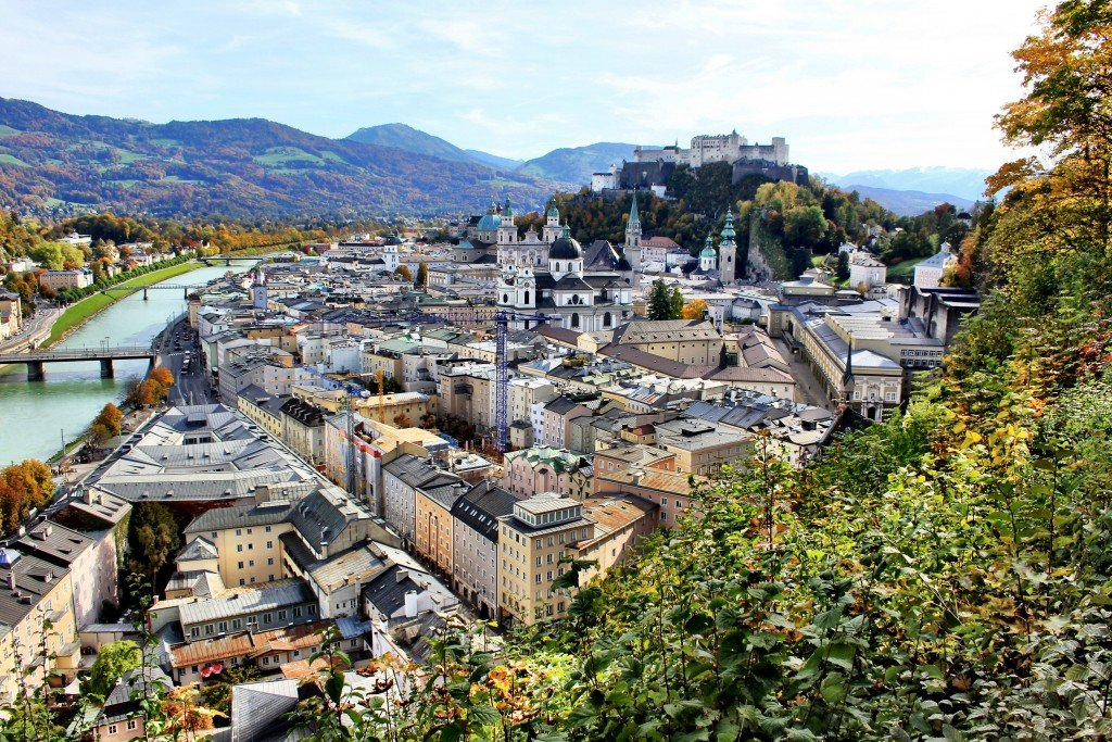 Salzburg old town and Hohensalzburg from the Monksburg