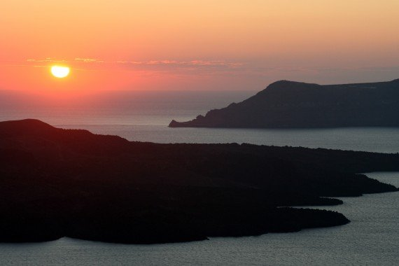Santorini sunset from near Fira, Greek Islands