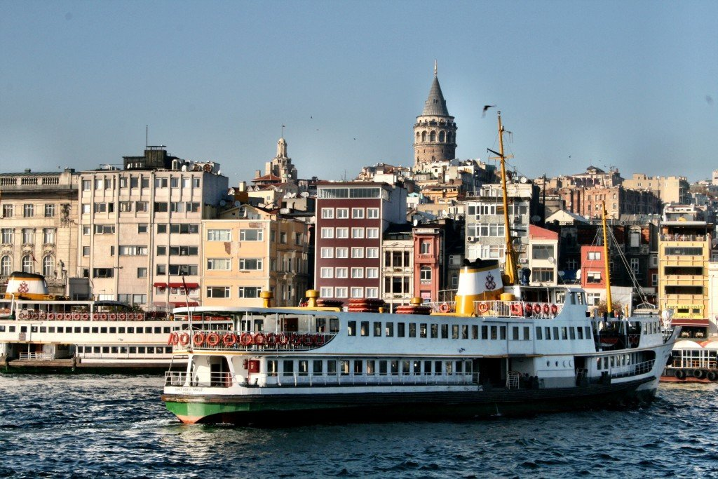 The Galata Tower and ferry from Eminonu, Istanbul