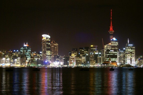 Auckland city at night, New Zealand