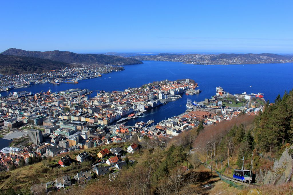 Funicular up the mountain and view of Bergen