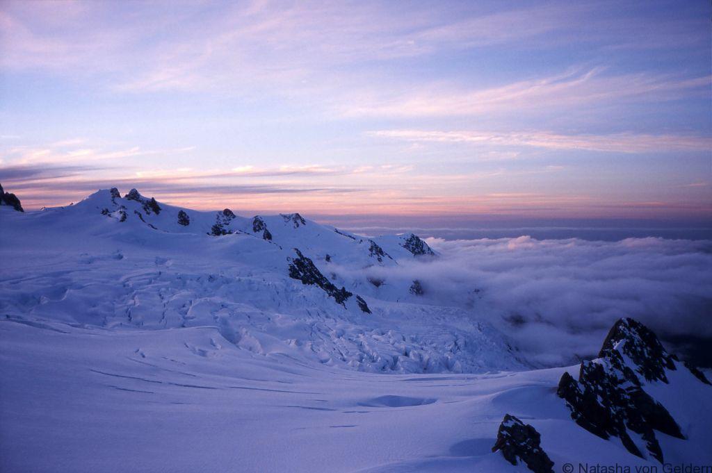 Franz Josef Glacier neve sunset New Zealand