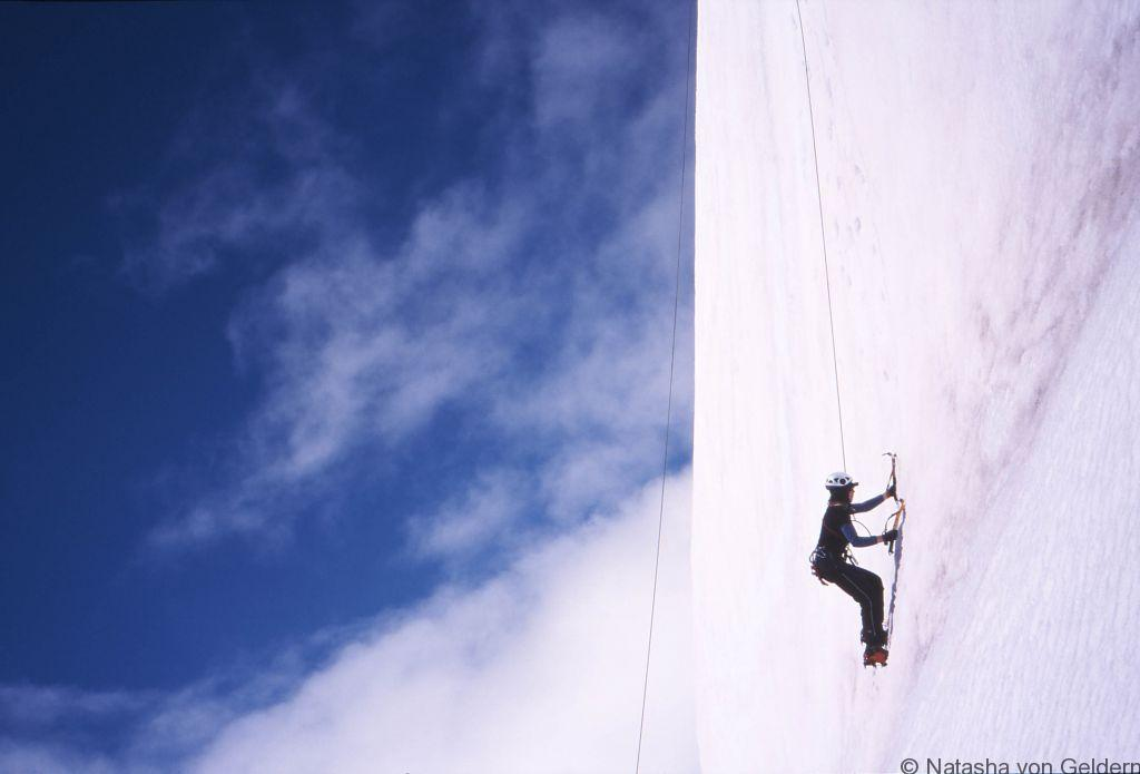 Natasha Ice climbing above Franz Josef Glacier New Zealand
