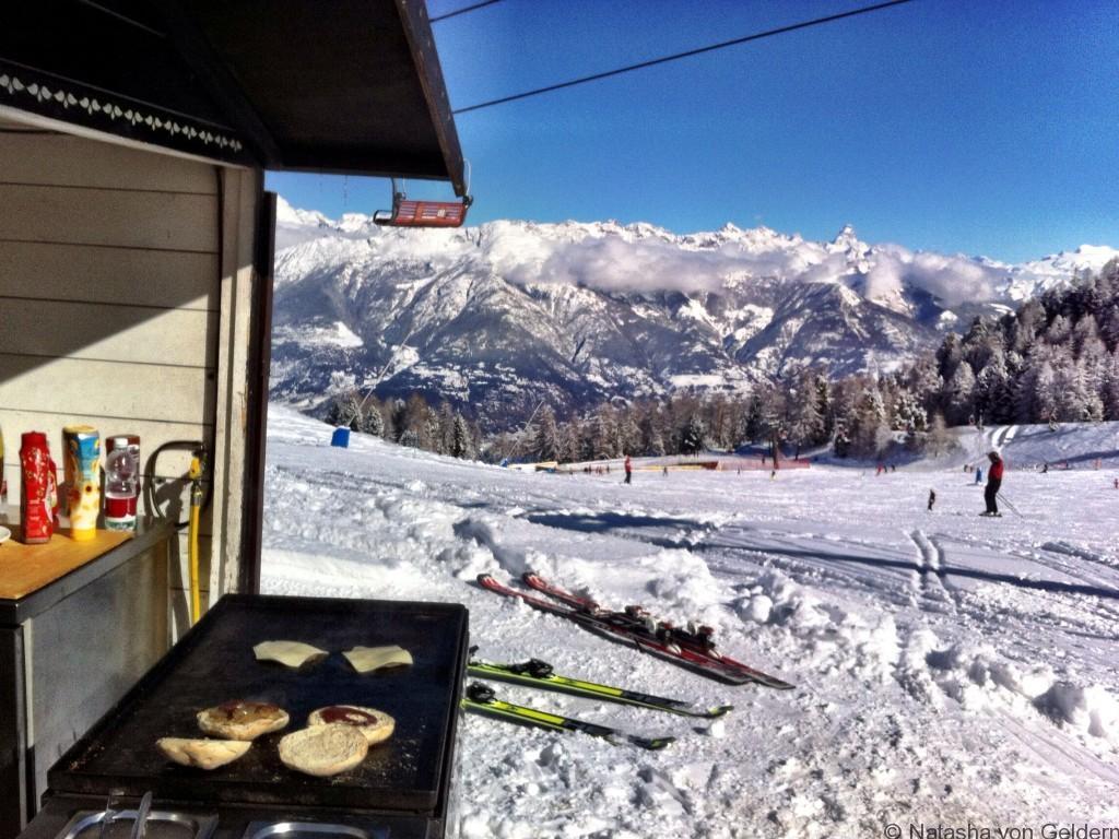 Burgers on the piste in Pila, Italian Alps