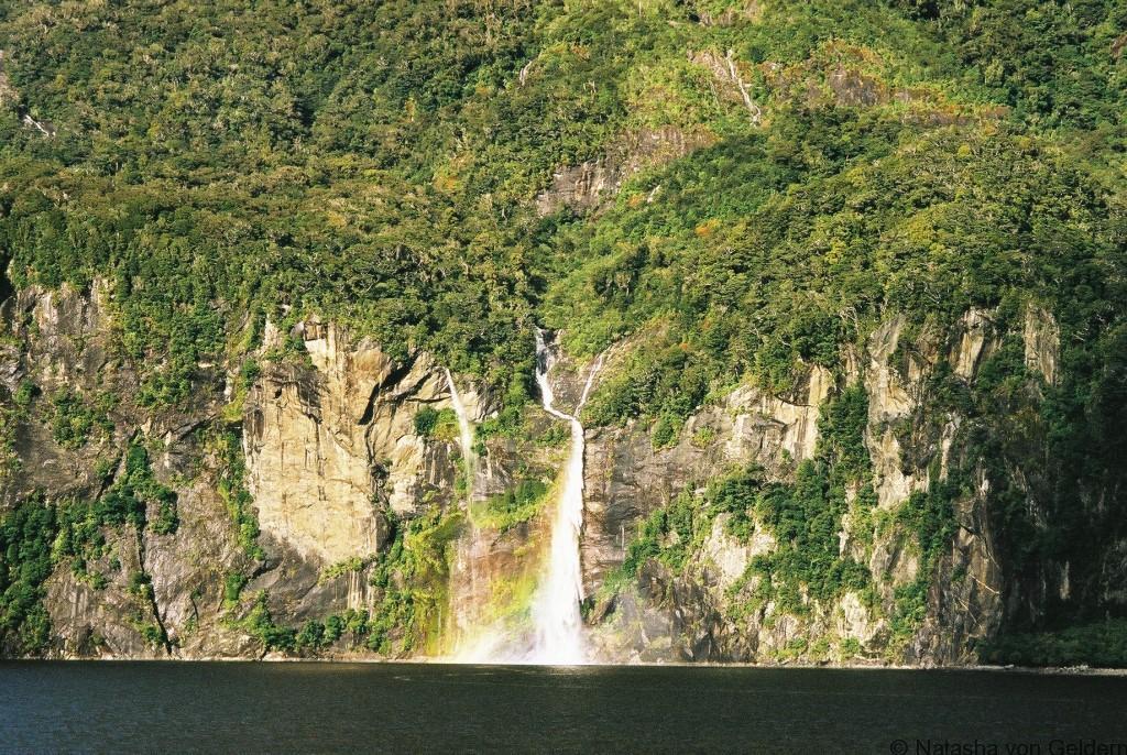 Milford Sound waterfall, New Zealand