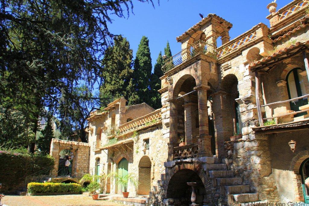 Villa Communale gardens folly Taormina Sicily