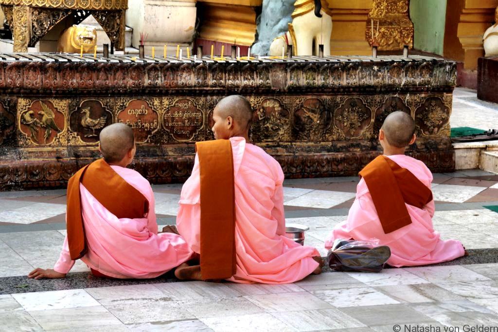 Shwedagon Pagoda Yangon Myanmar monks
