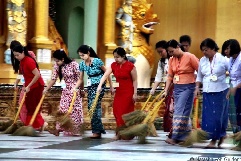 Shwedagon Pagoda Yangon Myanmar sweeping ceremony