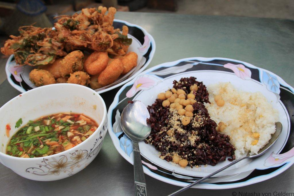 Breakfast snacks in Mandalay tea shop tour Myanmar