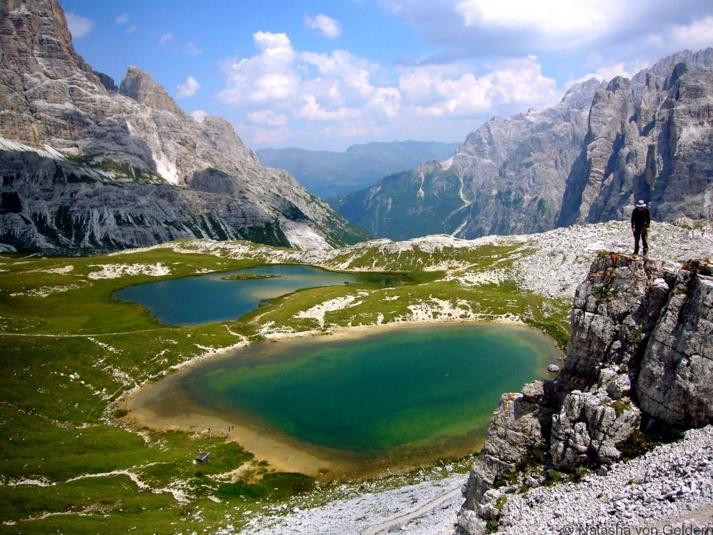 Italian Dolomites mountain and lake landscapeItalian Dolomites mountain and lake landscape