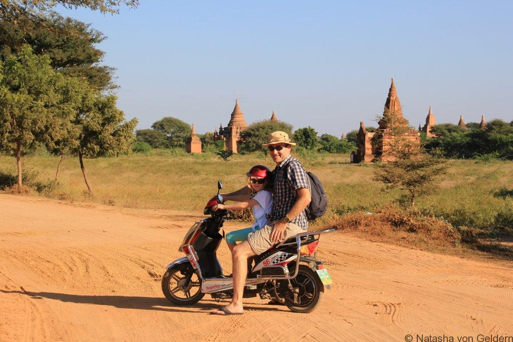 Wandering Kiwis on e-bikes in Bagan Myanmar