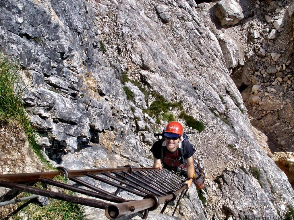 Via ferrata ladder in the Dolomites