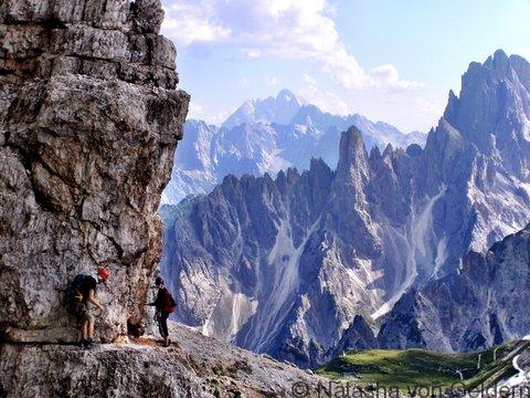 Hiking and via ferrata in the Dolomites Mountains Italy