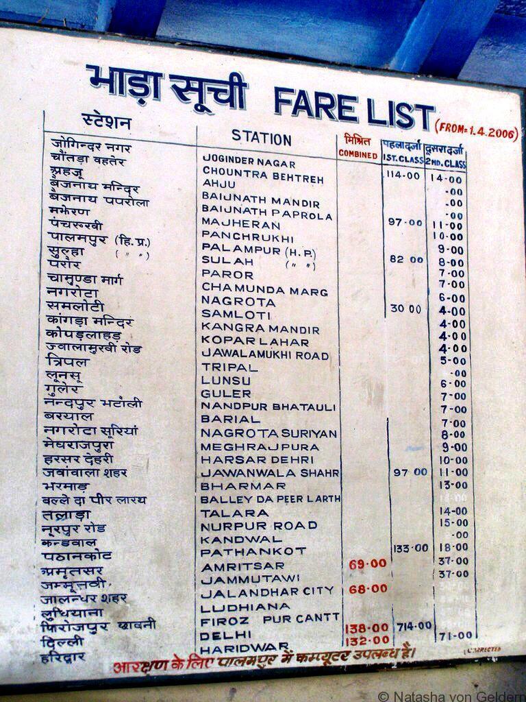 Kangra Valley Train Timetable India