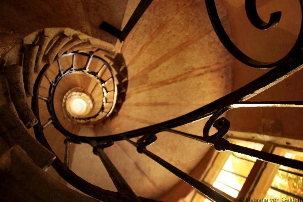 Spiral staircase in Lyon traboule France