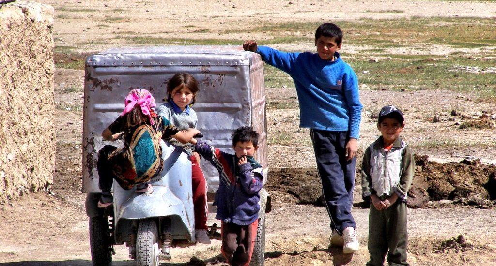 Children at Bulunkul village Pamir Highway Tajikistan